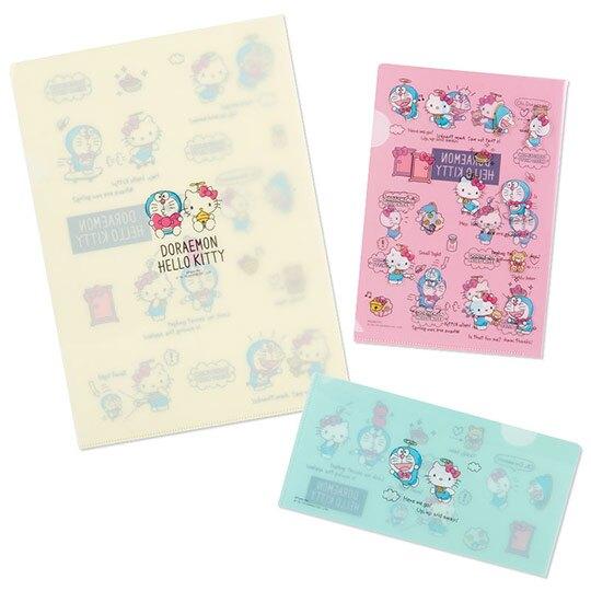 〔小禮堂〕Hello Kitty x 哆啦A夢 日製L型文件夾組《3入.粉米綠》資料夾.L夾.檔案夾