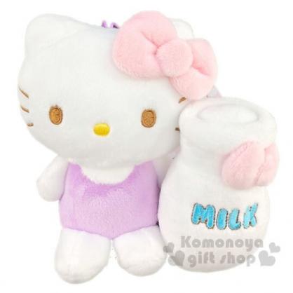〔小禮堂〕Hello Kitty 絨毛玩偶娃娃吊飾《白紫.牛奶瓶》鑰匙圈.掛飾