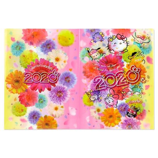 〔小禮堂〕Sanrio大集合 日製雙開式文件夾《黃粉》資料夾.檔案夾.L夾.2020花漾系列