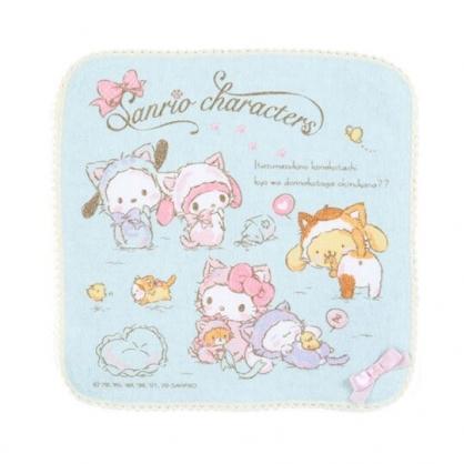 〔小禮堂〕Sanrio大集合 純棉割絨圓角小方巾《綠》25x25cm.手帕.變裝貓咪系列