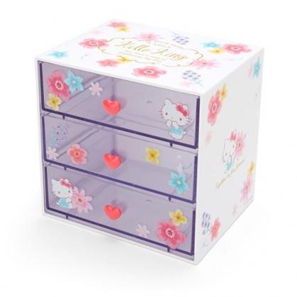 〔小禮堂〕Hello Kitty 桌上型塑膠三抽收納盒《白》抽屜盒.飾品盒.幸福女孩系列