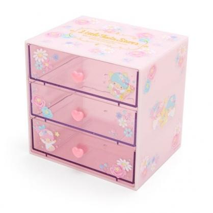 〔小禮堂〕雙子星 桌上型塑膠三抽收納盒《粉》抽屜盒.飾品盒.幸福女孩系列