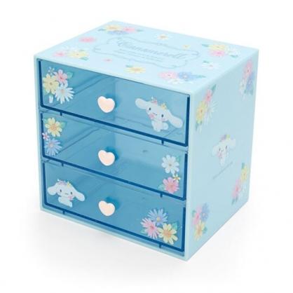 〔小禮堂〕大耳狗 桌上型塑膠三抽收納盒《藍》抽屜盒.飾品盒.幸福女孩系列