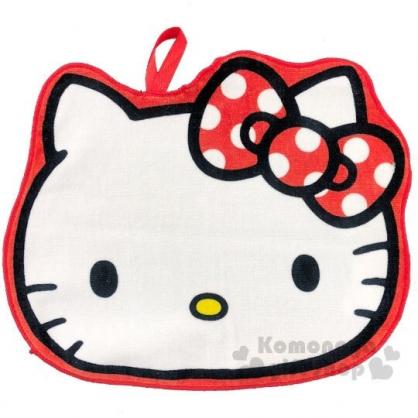 〔小禮堂〕Hello Kitty 大臉造型可掛式純棉割絨擦手巾《紅白》23x30cm.毛巾