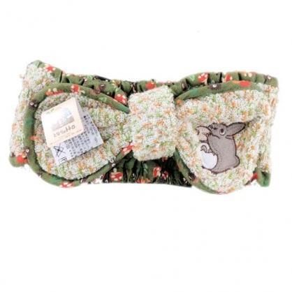 〔小禮堂〕宮崎駿Totoro龍貓 蝴蝶結造型絨毛鬆緊束髮帶《米綠》髮箍.髮飾.頭飾
