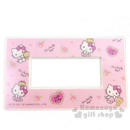 〔小禮堂〕Hello Kitty 標準橫式三孔插座開關裝飾板《粉.小熊》開關蓋板.電源蓋板
