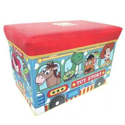 〔小禮堂〕迪士尼 玩具總動員 折疊收納箱座椅《紅藍.公車》玩具箱.儲物椅.置物箱