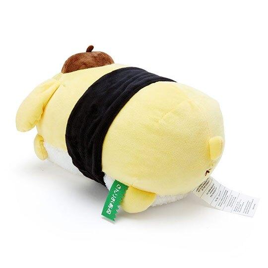 〔小禮堂〕布丁狗 壽司造型絨毛抱枕靠墊《黃白》靠枕.午睡枕