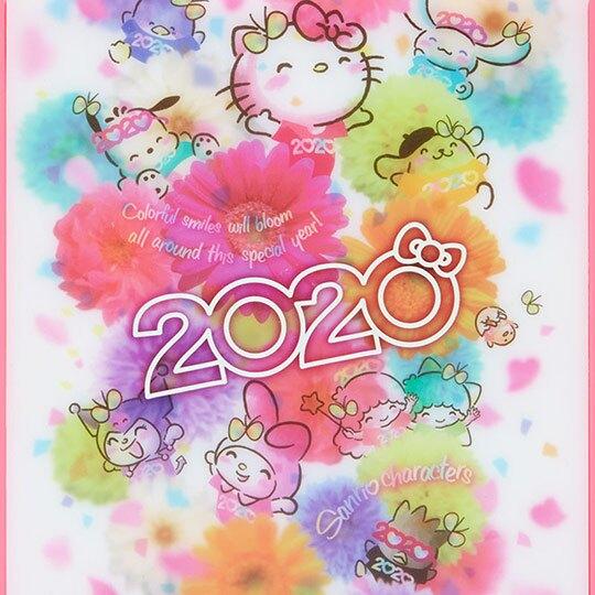 〔小禮堂〕Sanrio大集合 方形塑膠折疊鏡《粉白》立鏡.折鏡.桌鏡.2020花漾系列