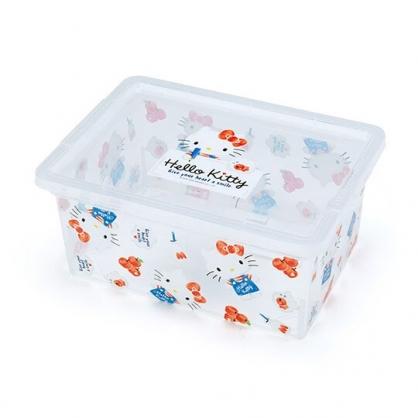 〔小禮堂〕Hello Kitty 方形透明塑膠拿蓋收納盒《紅滿版》置物盒.密封盒