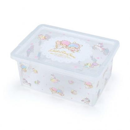 〔小禮堂〕雙子星 方形透明塑膠拿蓋收納盒《粉滿版》置物盒.密封盒