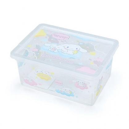 〔小禮堂〕大耳狗 方形透明塑膠拿蓋收納盒《藍滿版》置物盒.密封盒