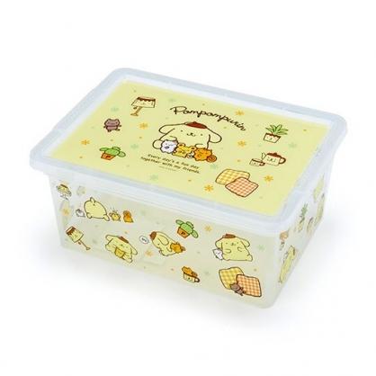 〔小禮堂〕布丁狗 方形透明塑膠拿蓋收納盒《黃滿版》置物盒.密封盒