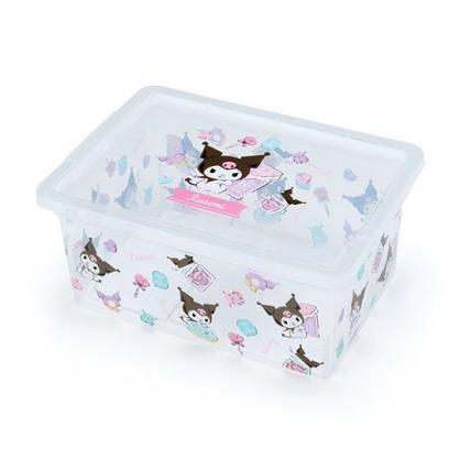 〔小禮堂〕酷洛米 方形透明塑膠拿蓋收納盒《紫滿版》置物盒.密封盒