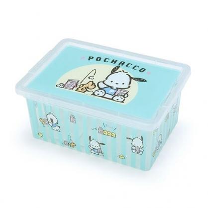 〔小禮堂〕帕恰狗 方形透明塑膠拿蓋收納盒《綠滿版》置物盒.密封盒
