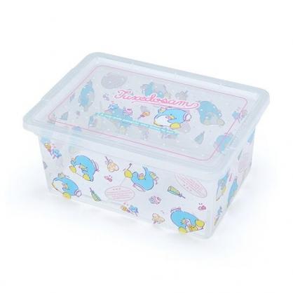 〔小禮堂〕山姆企鵝 方形透明塑膠拿蓋收納盒《藍滿版》置物盒.密封盒