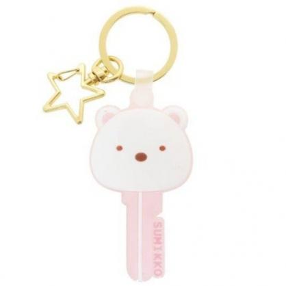 〔小禮堂〕角落生物 北極熊 大臉鑰匙造型矽膠鑰匙圈《粉白》掛飾.吊飾.鎖圈