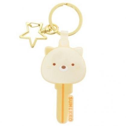 〔小禮堂〕角落生物 貓咪 大臉鑰匙造型矽膠鑰匙圈《米黃》掛飾.吊飾.鎖圈