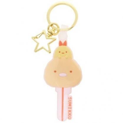 〔小禮堂〕角落生物 豬排 大臉鑰匙造型矽膠鑰匙圈《棕橘》掛飾.吊飾.鎖圈