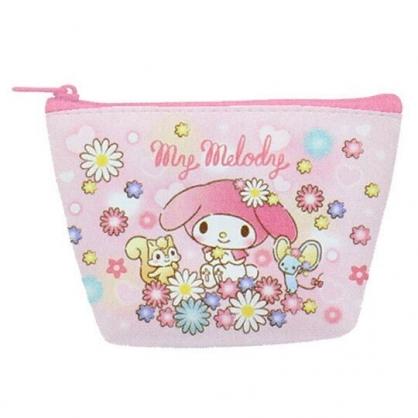 〔小禮堂〕美樂蒂 皮質船形零錢包《粉白.花朵》耳機包.收納包
