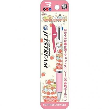 〔小禮堂〕角落生物 日製多色原子筆《粉黃.草莓》0.5mm.三色筆.Jetstream系列