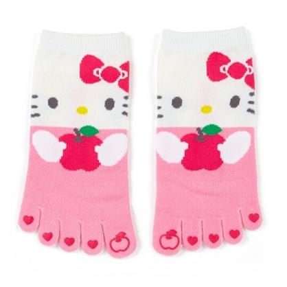 〔小禮堂〕Hello Kitty 成人五指襪《粉白.抱蘋果》腳長23-25cm.短襪.棉襪