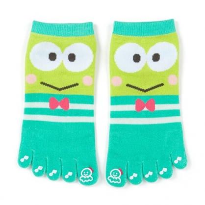 〔小禮堂〕大眼蛙 成人五指襪《綠白.大臉》腳長23-25cm.短襪.棉襪