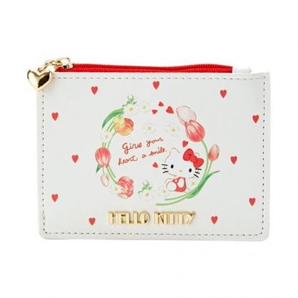 〔小禮堂〕Hello Kitty 皮質拉鍊票卡零錢包《米》收納包.證件夾.車票夾.春日新生活系列