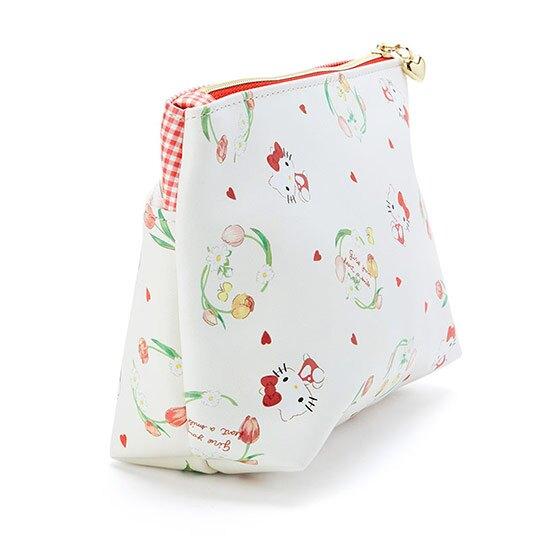 〔小禮堂〕Hello Kitty 皮質雙層拉鍊化妝包《米》收納包.萬用包.春日新生活系列