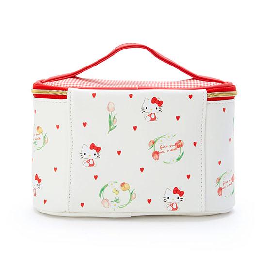〔小禮堂〕Hello Kitty 皮質拉鍊手提化妝包《米》收納包.化妝箱.春日新生活系列