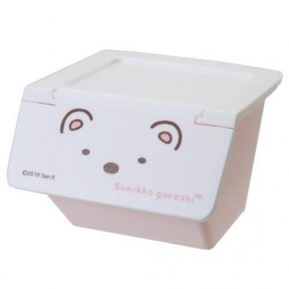 〔小禮堂〕角落生物 北極熊 可堆疊塑膠前開式掀蓋收納盒《白》置物盒.文具盒