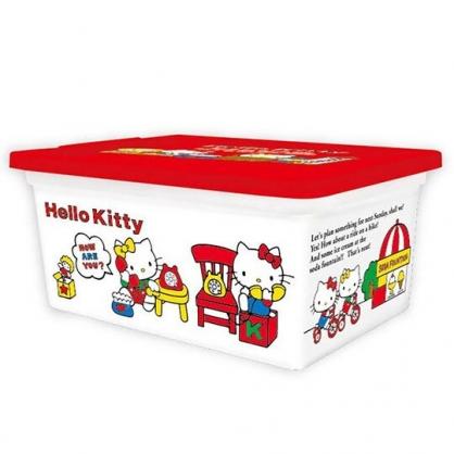 〔小禮堂〕Hello Kitty 方形塑膠拿蓋收納盒《S.白.講電話》置物盒.密封盒