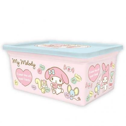 〔小禮堂〕美樂蒂 方形塑膠拿蓋收納盒《S.粉.抱愛心》置物盒.密封盒