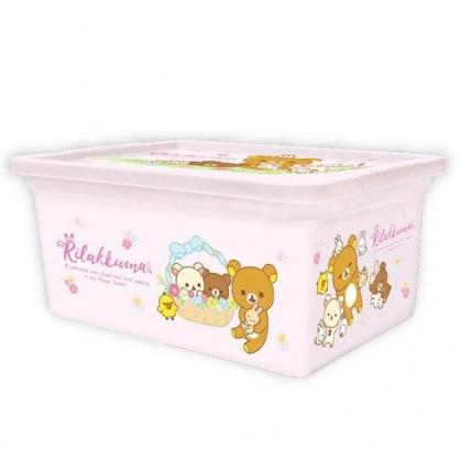 〔小禮堂〕懶懶熊 拉拉熊 方形塑膠拿蓋收納盒《S.粉.花籃》置物盒.密封盒