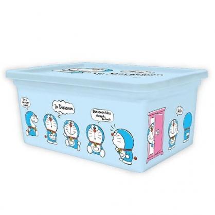 〔小禮堂〕哆啦A夢 方形塑膠拿蓋收納盒《S.藍.站姿》置物盒.密封盒