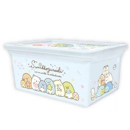 〔小禮堂〕角落生物 方形塑膠拿蓋收納盒《S.藍.海底》置物盒.密封盒