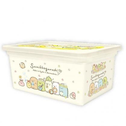 〔小禮堂〕角落生物 方形塑膠拿蓋收納盒《S.黃.戴花圈》置物盒.密封盒