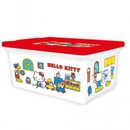 〔小禮堂〕Hello Kitty 方形塑膠拿蓋收納盒《M.白.玩具》置物盒.玩具箱