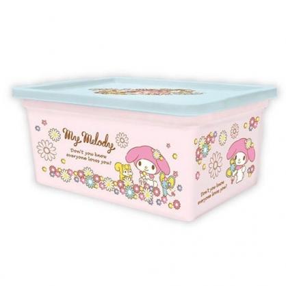 〔小禮堂〕美樂蒂 方形塑膠拿蓋收納盒《M.粉.花朵》置物盒.玩具箱