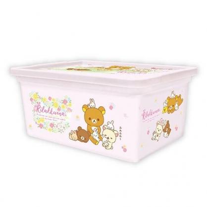 〔小禮堂〕懶懶熊 拉拉熊 方形塑膠拿蓋收納盒《M.粉.兔子》置物盒.玩具箱