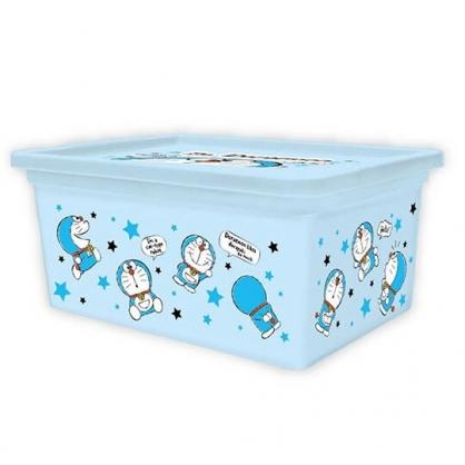 〔小禮堂〕哆啦A夢 方形塑膠拿蓋收納盒《M.藍.星星》置物盒.玩具箱