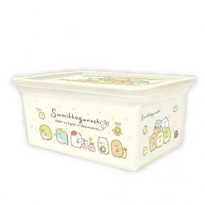 〔小禮堂〕角落生物 方形塑膠拿蓋收納盒《M.黃.戴花圈》置物盒.玩具箱