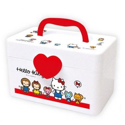 〔小禮堂〕Hello Kitty 方形塑膠掀蓋手提收納箱《S.白.動物》置物箱.藥箱.工具箱