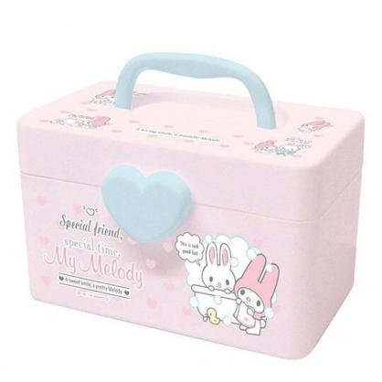 〔小禮堂〕美樂蒂 方形塑膠掀蓋手提收納箱《S.粉.泡澡》置物箱.藥箱.工具箱