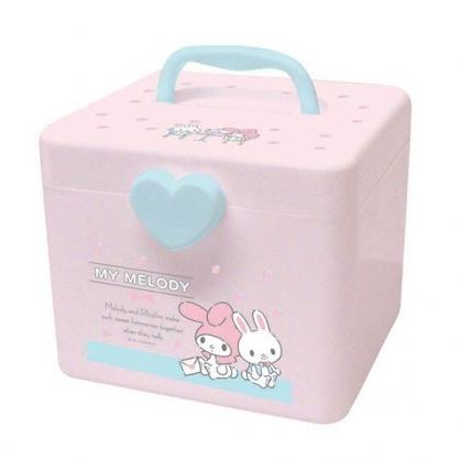〔小禮堂〕美樂蒂 方形塑膠掀蓋手提收納箱《M.粉.草莓》置物箱.藥箱.工具箱