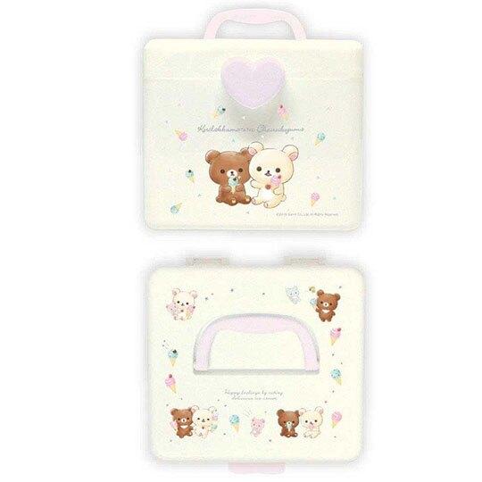 〔小禮堂〕懶懶熊 拉拉熊 方形塑膠掀蓋手提收納箱《M.米.冰淇淋》置物箱.藥箱.工具箱