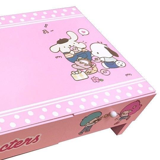 〔小禮堂〕Sanrio大集合 橫式木製雙抽螢幕架置物架《粉.點點》電腦架.抽屜架