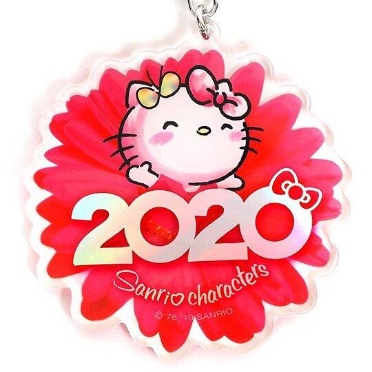 〔小禮堂〕Hello Kitty 花朵造型壓克力鑰匙圈《紅》掛飾.鎖圈.2020花漾系列