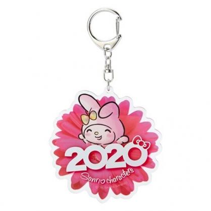 〔小禮堂〕美樂蒂 花朵造型壓克力鑰匙圈《桃》掛飾.鎖圈.2020花漾系列