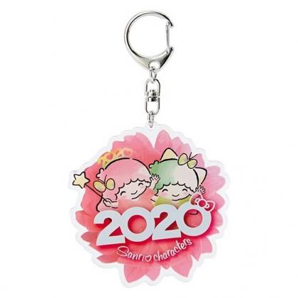 〔小禮堂〕雙子星 花朵造型壓克力鑰匙圈《粉》掛飾.鎖圈.2020花漾系列